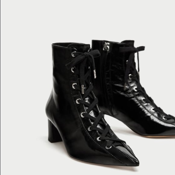 a6667f7aeb77 NWOT Zara Black Patent Leather Lace Up Ankle Boots